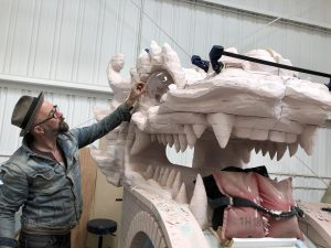 a dragon head being built