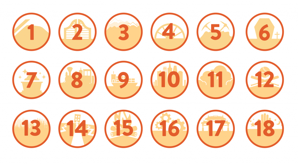 circular icons with numbers