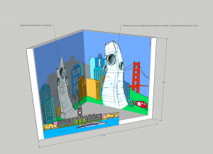 render of a cutout of two buildings